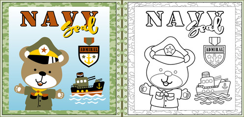 funny naval troop cartoon vector with gunboat, coloring page or book. eps 10