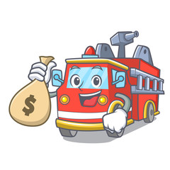 With money bag fire truck character cartoon