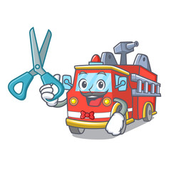 Barber fire truck character cartoon
