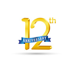 12th golden Anniversary logo with blue ribbon isolated on white   background. 3d gold 12th Anniversary logo