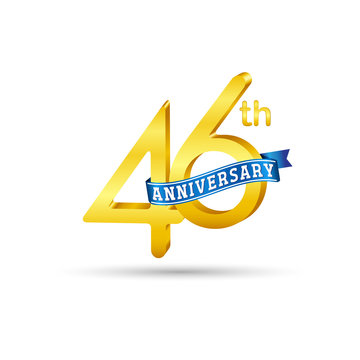 46th golden Anniversary logo with blue ribbon isolated on white   background. 3d gold 46th Anniversary logo
