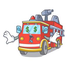 Money eye fire truck mascot cartoon