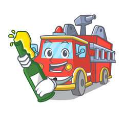 With beer fire truck mascot cartoon