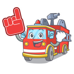 Foam finger fire truck mascot cartoon