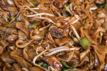 Close-up of the stir fried kuey teow.