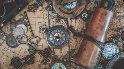 Foto auf AluDibond Schiff Pirate Collection On Ancient World Map
