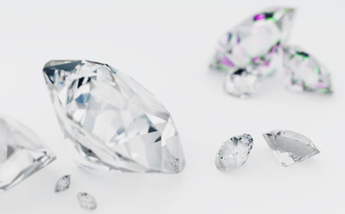 Diamonds on a white background, photorealistic 3d render of jewelry small depth of field.