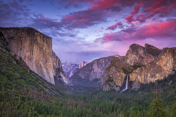 Dramatic clouds after sunset over Tunnel View in Yosemite National Park