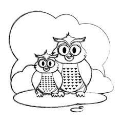 grunge couple owl wild animal in the landscape