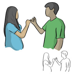 man and woman having pinky promise hand holding vector illustration sketch doodle hand drawn with black lines isolated on white background