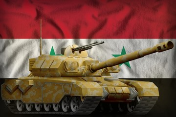 heavy tank with desert camouflage on the Syrian Arab Republic national flag background. 3d Illustration