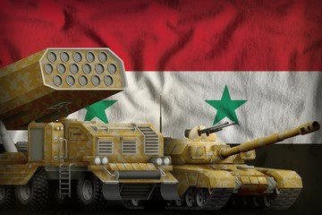 Syrian Arab Republic heavy military armored vehicles concept on the national flag background. 3d Illustration