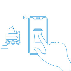 Order in smart phone app, delivery with robot.