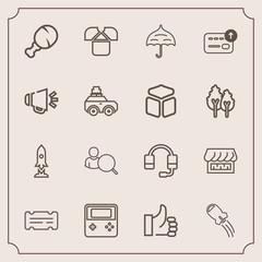 Modern, simple vector icon set with craft, shop, cash, internet, meal, microphone, rain, ticket, web, loudspeaker, money, tshirt, rocket, arrow, good, umbrella, sound, white, entertainment, up icons