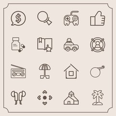 Modern, simple vector icon set with architecture, nuclear, audio, headset, music, weapon, record, medicine, frame, click, internet, book, palm, technology, price, magnifying, summer, health, war icons