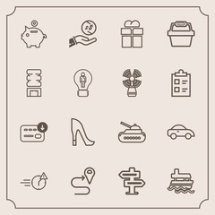 Modern, simple vector icon set with room, boat, finance, route, sea, panzer, hanger, doorknob, late, dollar, office, gift, transport, style, investment, map, road, ship, shoe, coin, tank, army icons