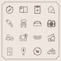 Modern, simple vector icon set with direction, shipping, increase, paper, house, account, financial, transportation, sofa, lorry, location, bill, home, shop, open, truck, finance, book, pin, map icons
