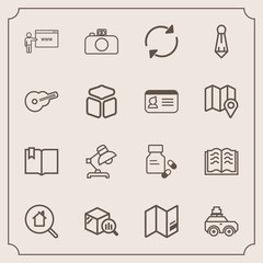 Modern, simple vector icon set with lamp, travel, web, internet, tie, vitamin, photography, real, book, medicine, world, education, suit, business, pharmacy, refresh, estate, trend, click, map icons