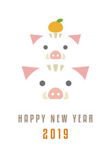 2019年 亥年 猪の鏡餅の年賀状イラスト