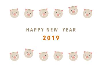 2019年 亥年 猪の年賀状イラスト