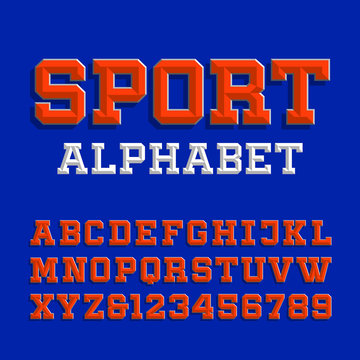 Beveled alphabet vector font. Retro sport style typeface for your design. Type letters and numbers.