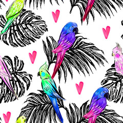 Seamless pattern with bright painted parrots Tropical design with birds