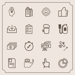 Modern, simple vector icon set with currency, presentation, touch, building, camera, south, business, steam, identity, hand, target, lens, hot, microphone, kitchen, click, cash, money, id, card icons