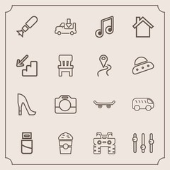 Modern, simple vector icon set with transportation, plug, shop, atv, cable, cafe, shoe, transport, fashion, handle, skateboard, left, skate, bomb, weapon, video, drink, quad, equality, cup, war icons