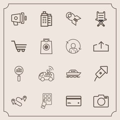 Modern, simple vector icon set with internet, loudspeaker, debit, money, car, loud, banking, travel, navigation, technology, bomb, business, find, mobile, position, point, photo, festival, map icons