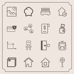Modern, simple vector icon set with cash, escape, food, electric, property, cook, room, building, uniform, bag, file, landscape, architecture, cooler, leather, home, style, exit, photo, bed, fan icons