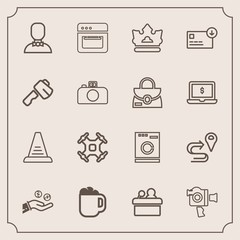 Modern, simple vector icon set with handle, washer, oven, appliance, film, internet, control, business, helicopter, conference, coin, cooking, technology, speaker, step, drink, concept, crown icons