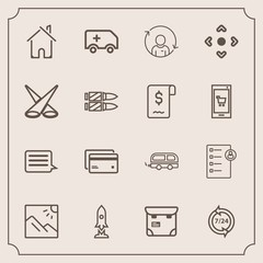 Modern, simple vector icon set with photography, help, call, house, landscape, profile, transportation, service, message, photo, checklist, business, support, spaceship, banking, craft, phone icons
