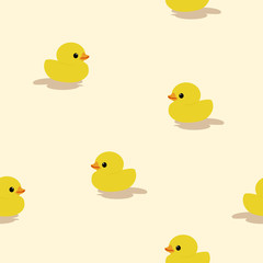 Seamless pattern little yellow duck toy on the beach.printing wallpaper.vector illustration