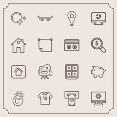 Modern, simple vector icon set with skateboard, coin, chart, machine, money, scale, retro, moon, typography, thermometer, skate, setting, pin, sky, tshirt, business, technology, travel, atm, map icons