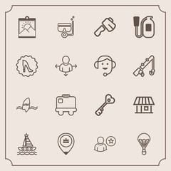 Modern, simple vector icon set with hammer, house, extreme, sign, airport, water, surfing, surf, estate, work, bag, summer, online, key, photo, tropical, parachute, picture, location, security icons