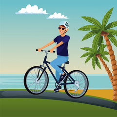 Young man riding a bike at beach vector illustration graphic design