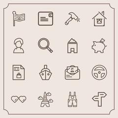 Modern, simple vector icon set with tool, america, direction, sign, sun, landmark, shovel, work, glasses, sunglasses, mail, notebook, post, dollar, arrow, wear, way, laboratory, uniform, eiffel icons