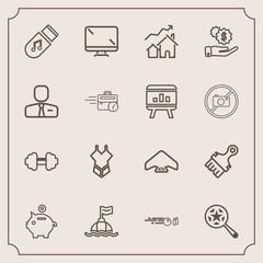 Modern, simple vector icon set with digital, extreme, strike, find, safety, parachuting, summer, bikini, storage, sound, property, music, workout, money, fashion, finance, paintbrush, sea, brush icons