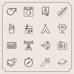 Modern, simple vector icon set with station, tool, computer, book, south, referee, space, compass, button, equipment, astronomy, clean, wrench, aircraft, contact, technology, sport, whistle, jet icons