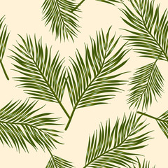 Seamless pattern areca plam leaf tropical leaves on Pale yellow color background.printing wallpaper.vector illustration