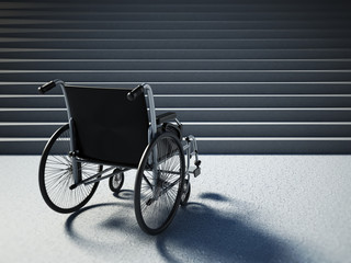 Empty wheelchair standing in front of steep staircase. 3D illustration