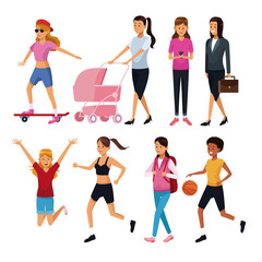 Set of differents women cartoons vector illustration graphic design
