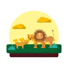 adorable lion family animal in the landscape