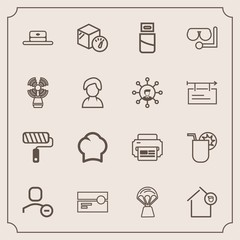 Modern, simple vector icon set with tape, business, weight, tool, hat, cook, house, audio, balloon, juice, delete, web, hot, summer, cassette, air, cable, account, package, landlord, drink, chef icons