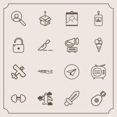 Modern, simple vector icon set with online, blank, strike, white, internet, musical, ball, control, button, message, video, box, account, sword, communication, cardboard, exercise, aircraft, gym icons