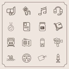 Modern, simple vector icon set with space, water, fun, hotel, web, joy, signal, snorkel, technology, headset, sign, communication, craft, blue, handle, room, film, train, note, sea, laboratory icons