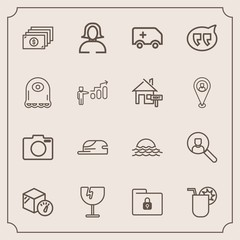 Modern, simple vector icon set with package, photo, folder, internet, security, morning, currency, computer, sunrise, emergency, crash, box, lock, equipment, juice, woman, hat, file, window, sun icons