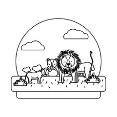 line adorable lion family animal in the landscape