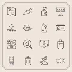 Modern, simple vector icon set with location, old, online, trash, megaphone, real, estate, equipment, telephone, white, dollar, square, business, container, cooler, construction, home, drink icons