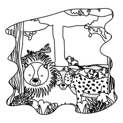 line adorable lion and leopard friends animals in the forest